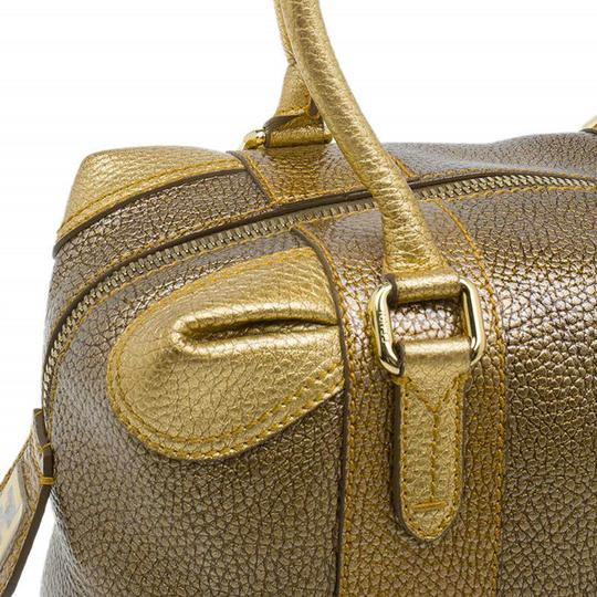Fendi Pebbled Leather Satchel in Gold Image 8