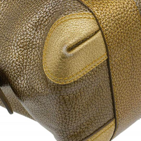 Fendi Pebbled Leather Satchel in Gold Image 9