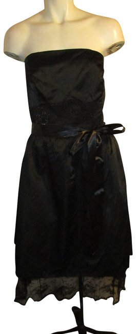 Item - Black Strapless Satin and Lace Formal Short Cocktail Dress Size 10 (M)