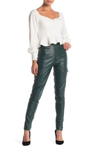 Pink Owl High Waist Zipper Faux Leather Skinny Pants Green