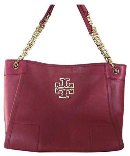 Preload https://img-static.tradesy.com/item/26443990/tory-burch-dark-pink-handbag-with-gold-chain-and-accents-magenta-leather-tote-0-1-540-540.jpg