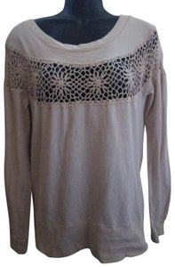Urban Outfitters Crochet Boho Spring Fall Knit Top Beige