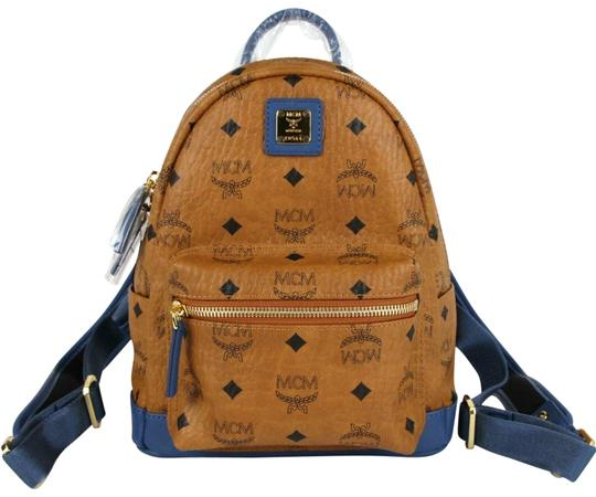 Preload https://img-static.tradesy.com/item/26444280/mcm-mini-with-blue-leather-trim-mmk8axl91ce001-cognac-brown-coated-canvas-backpack-0-1-540-540.jpg