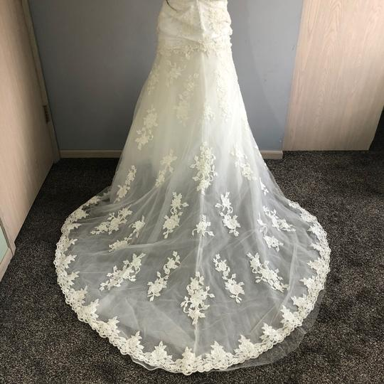 Alfred Angelo Ivory Lace A Line Beaded Gown Formal Wedding Dress Size 4 (S) Image 3