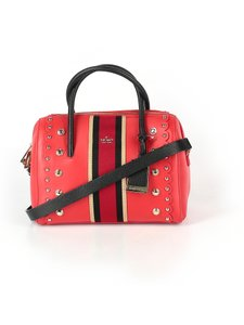 Kate Spade Leather Studded Madison Scalloped Satchel in Red