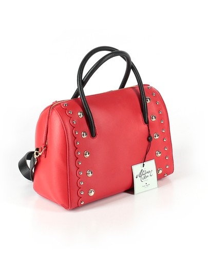 Kate Spade Leather Studded Madison Scalloped Satchel in Red Image 1