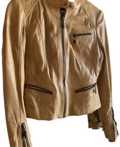 Andrew Marc Tan, camel Leather Jacket