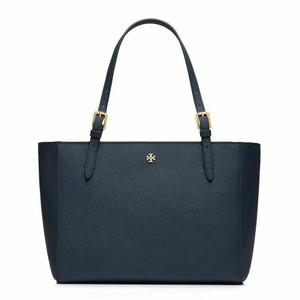 Tory Burch Saffiano Leather Logo Zipper Gold-tone Hardware Buckle Tote in Navy