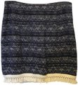 MICHAEL Michael Kors And White Cotton White Tassel Fringe Size 6 S Small New With Tags Mini Skirt Blue Image 0