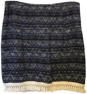 MICHAEL Michael Kors And White Cotton White Tassel Fringe Size 6 S Small New With Tags Mini Skirt Blue