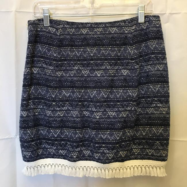 MICHAEL Michael Kors And White Cotton White Tassel Fringe Size 6 S Small New With Tags Mini Skirt Blue Image 7
