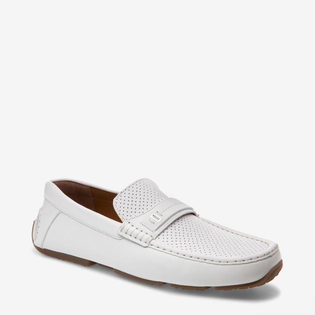 Item - White Pryce Perforated Leather Logo Driving Loafers 9.5 Us 42.5 Italy Shoes