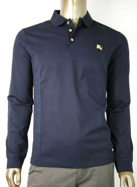 Item - Navy XL Cotton Long Sleeve Polo with Gold Horse Charm 4059323 Shirt