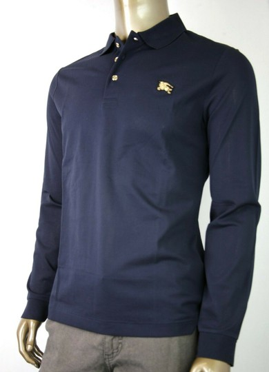 Burberry Navy XL Cotton Long Sleeve Polo with Gold Horse Charm 4059323 Shirt Image 2
