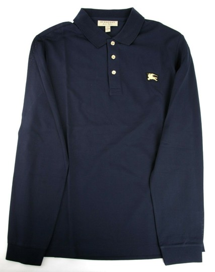 Burberry Navy XL Cotton Long Sleeve Polo with Gold Horse Charm 4059323 Shirt Image 4