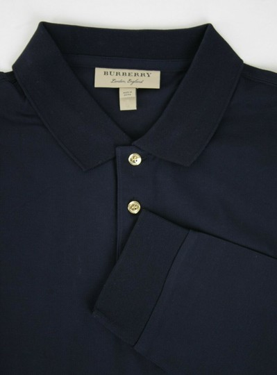 Burberry Navy XL Cotton Long Sleeve Polo with Gold Horse Charm 4059323 Shirt Image 5