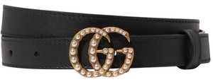Gucci size 90 Faux pearl-embellished leather belt