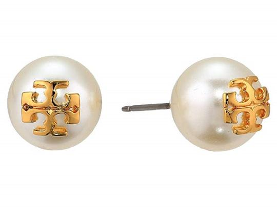 Tory Burch Tory Burch IVORY Swarovski Crystal Pearl Studs Logo Earrings Image 0