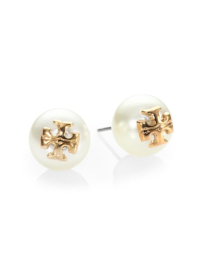 Tory Burch Tory Burch IVORY Swarovski Crystal Pearl Studs Logo Earrings Image 2