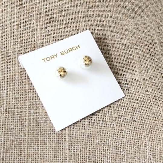 Tory Burch Tory Burch IVORY Swarovski Crystal Pearl Studs Logo Earrings Image 6