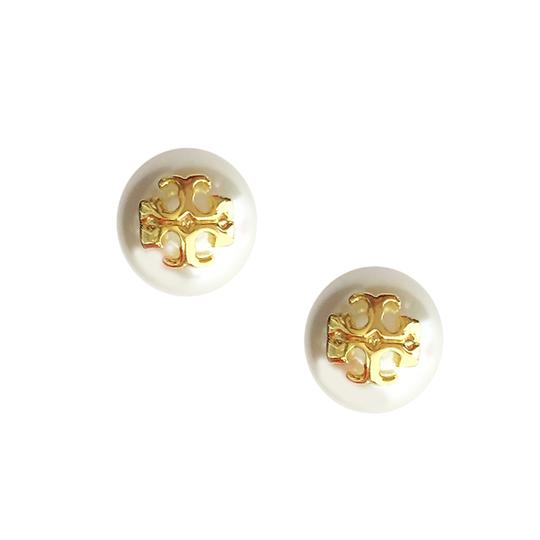 Tory Burch Tory Burch IVORY Swarovski Crystal Pearl Studs Logo Earrings Image 7
