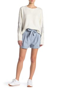 Nordstrom Monochrome Elastic Stretchy Tie Cotton Cuffed Shorts Blue