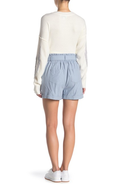 Nordstrom Monochrome Elastic Stretchy Tie Cotton Cuffed Shorts Blue Image 1
