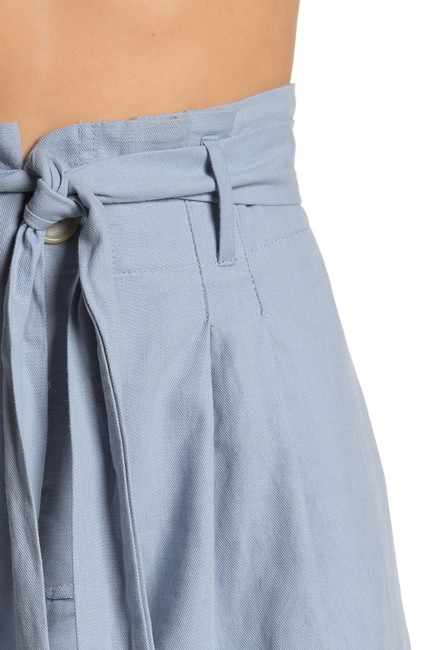 Nordstrom Monochrome Elastic Stretchy Tie Cotton Cuffed Shorts Blue Image 2