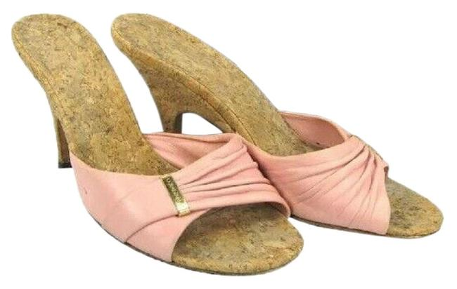 Item - Pink Leather Classic Gold Tone Cc Buckle Wooden Heel 6 Mules/Slides Size EU 36 (Approx. US 6) Regular (M, B)