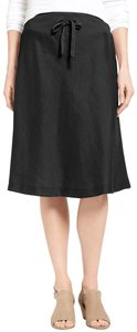 Eileen Fisher Linen A-line Casual Breathable Skirt Black