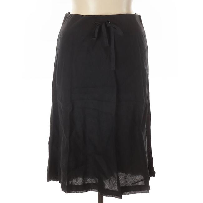 Eileen Fisher Linen A-line Casual Breathable Skirt Black Image 1