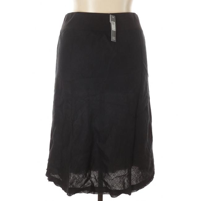 Eileen Fisher Linen A-line Casual Breathable Skirt Black Image 2