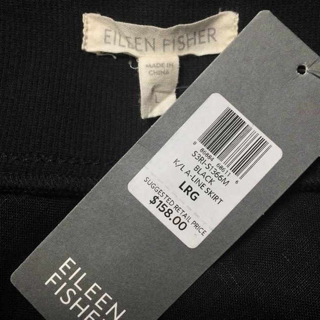Eileen Fisher Linen A-line Casual Breathable Skirt Black Image 3