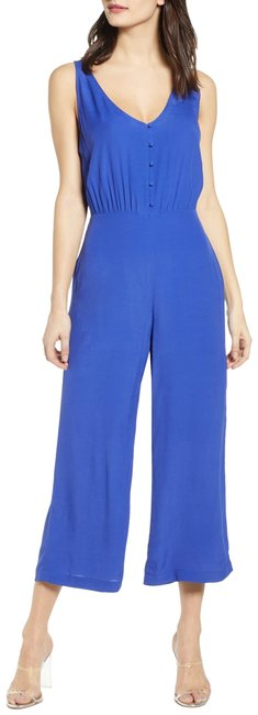 Preload https://img-static.tradesy.com/item/26444693/leith-blue-sleeveless-button-front-romperjumpsuit-0-2-650-650.jpg