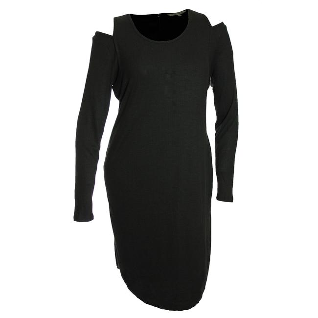 Item - Black 0x Cold Shoulder Long Sleeve Ribbed Mid-length Night Out Dress Size 14 (L)