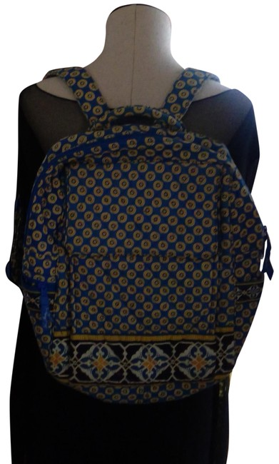 Item - Floral Pattern Book Adjustable Blue/Yellow Quilted Cotton Backpack