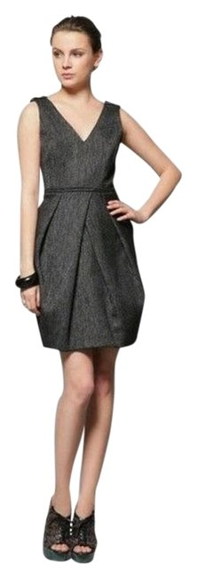 Item - Gray Women's Double Faced Wool Herringbone Tweed New S Mid-length Short Casual Dress Size 4 (S)
