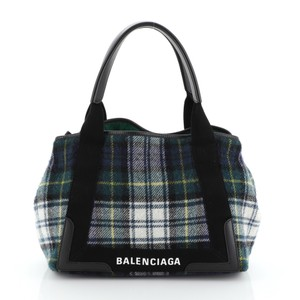 Balenciaga Wool Cabas Tote in blue, green