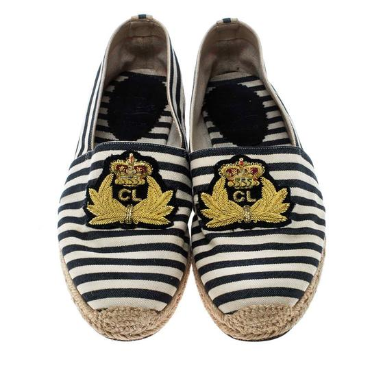 Christian Louboutin Striped Canvas Embroidered Espadrille White Flats Image 1
