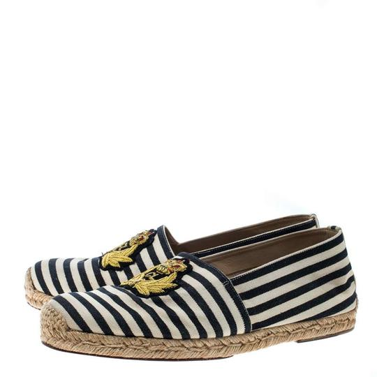 Christian Louboutin Striped Canvas Embroidered Espadrille White Flats Image 4