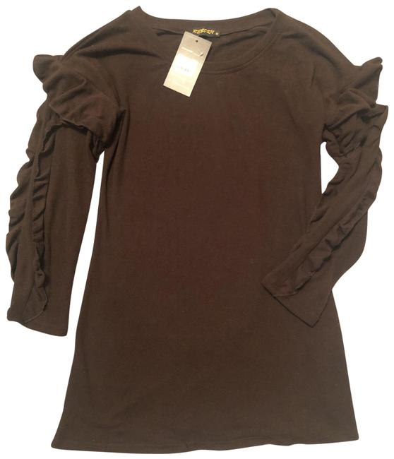 Item - Brown Soft Sweater Ruffle Sleeves Mid-length Short Casual Dress Size 10 (M)