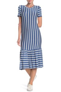 Blue Maxi Dress by Cotton Emporium Striped Rayon Stretchy Ruffle