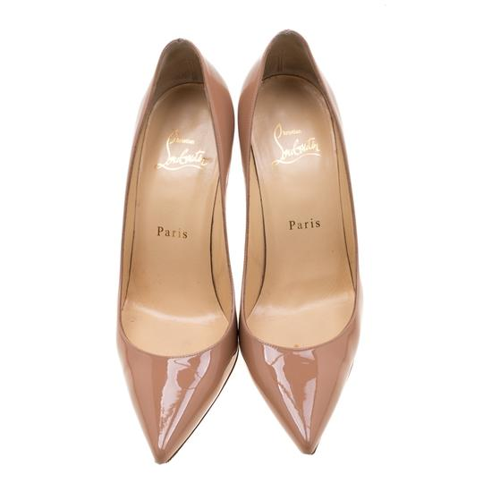 Christian Louboutin Patent Leather Pointed Toe Beige Pumps Image 1