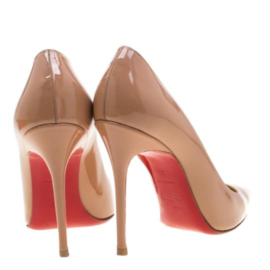 Christian Louboutin Patent Leather Pointed Toe Beige Pumps Image 2