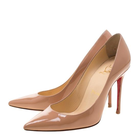 Christian Louboutin Patent Leather Pointed Toe Beige Pumps Image 4