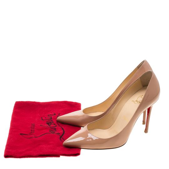 Christian Louboutin Patent Leather Pointed Toe Beige Pumps Image 7