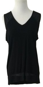 Vince Camuto Sleeveless Rayon Polyester V-neck Top Black