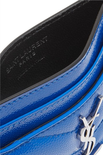 Saint Laurent Monogramme quilted neon textured-leather cardholder Image 1