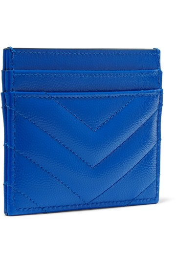 Saint Laurent Monogramme quilted neon textured-leather cardholder Image 2