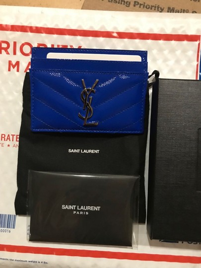 Saint Laurent Monogramme quilted neon textured-leather cardholder Image 3